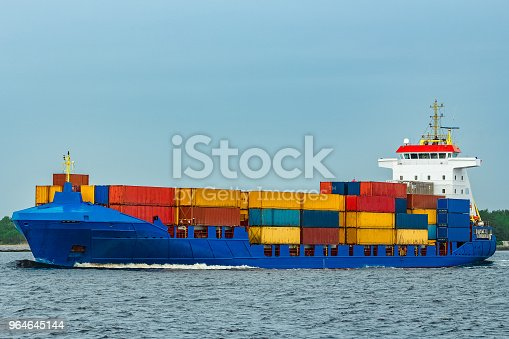 New Blue Container Ship Stock Photo & More Pictures of Blue