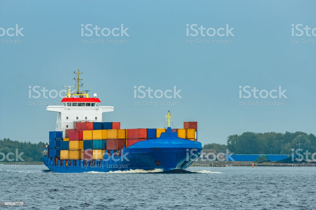 New blue container ship zbiór zdjęć royalty-free