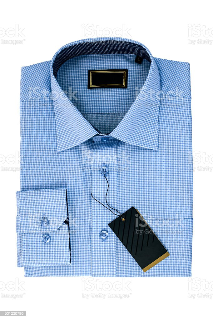 New blue man's shirt isolated on white stock photo