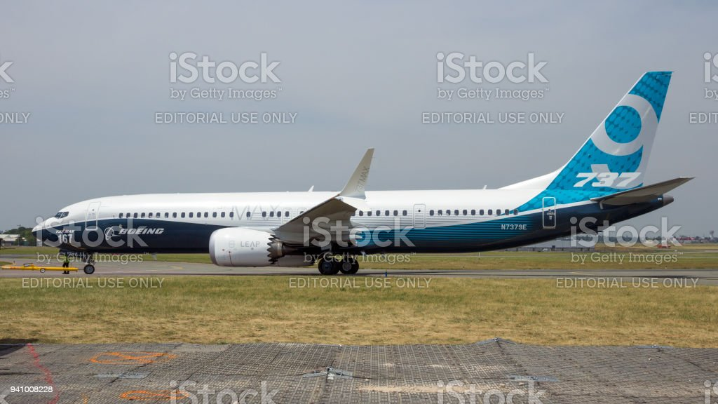 New Boeing 737-9 MAX airliner stock photo