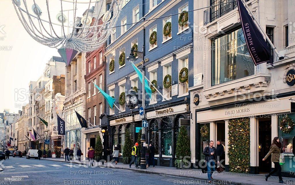 New Bond Street, London, at Christmas stock photo