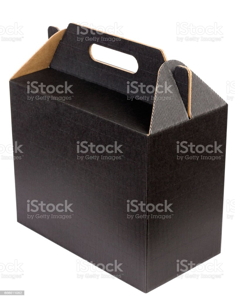 New box of dark loose corrugated cardboard for wine bottles isolated. Mass prodiction, selective focus stock photo