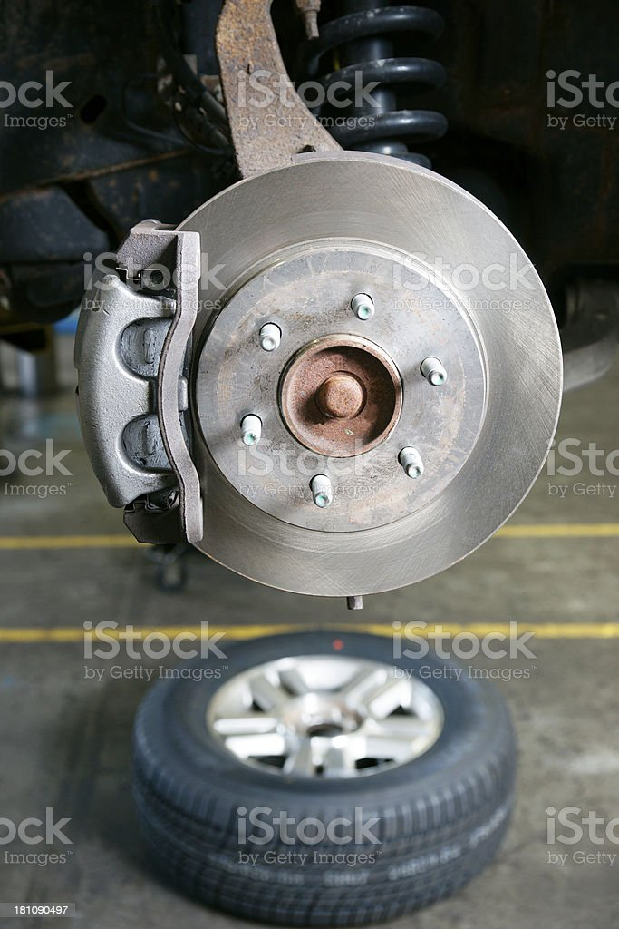 New brakes installed on a car royalty-free stock photo