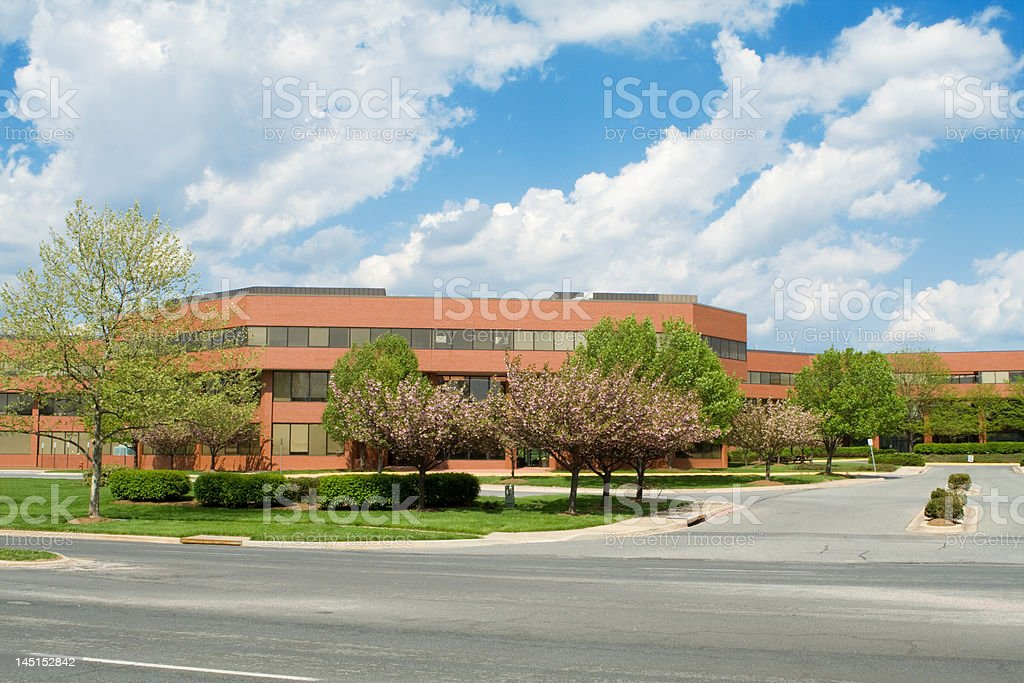 New Brick Office Building, Trees, Suburban Maryland, USA, Blue Sky stock photo