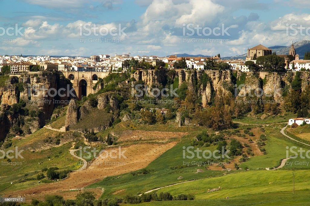New bridge and cliffs of Ronda, Puente Nuevo, Andalusia, Spain stock photo