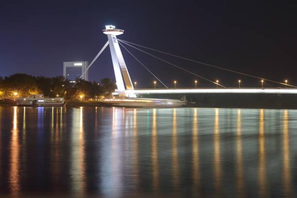 New bridge in Bratislava at night.