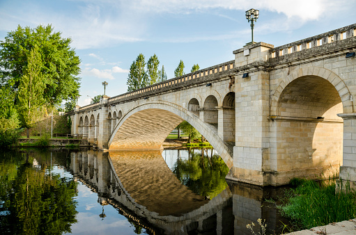 Ponte Nova de Chaves, crosses the Tâmega River. Portugal. It is the busiest bridge in the city.