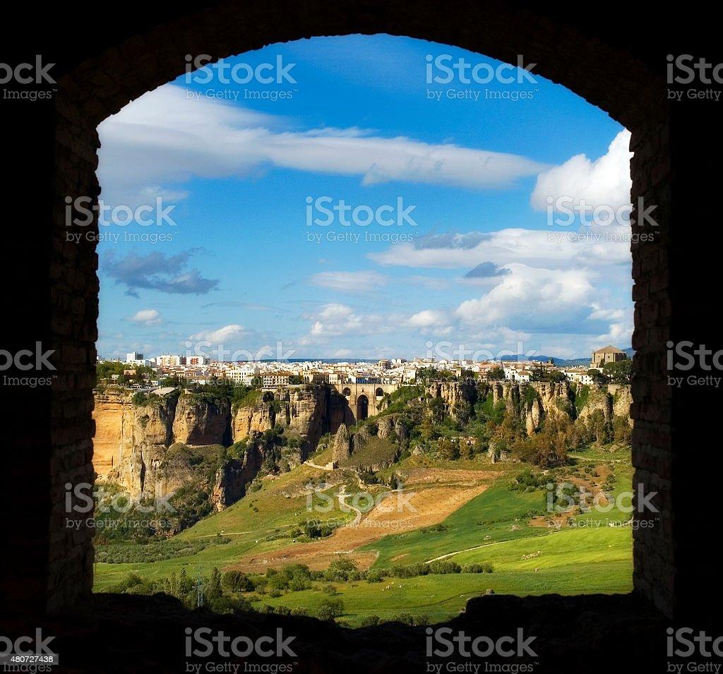 New bridge Ronda and cliffs, Puente Nuevo, Andalusia, Spain stock photo