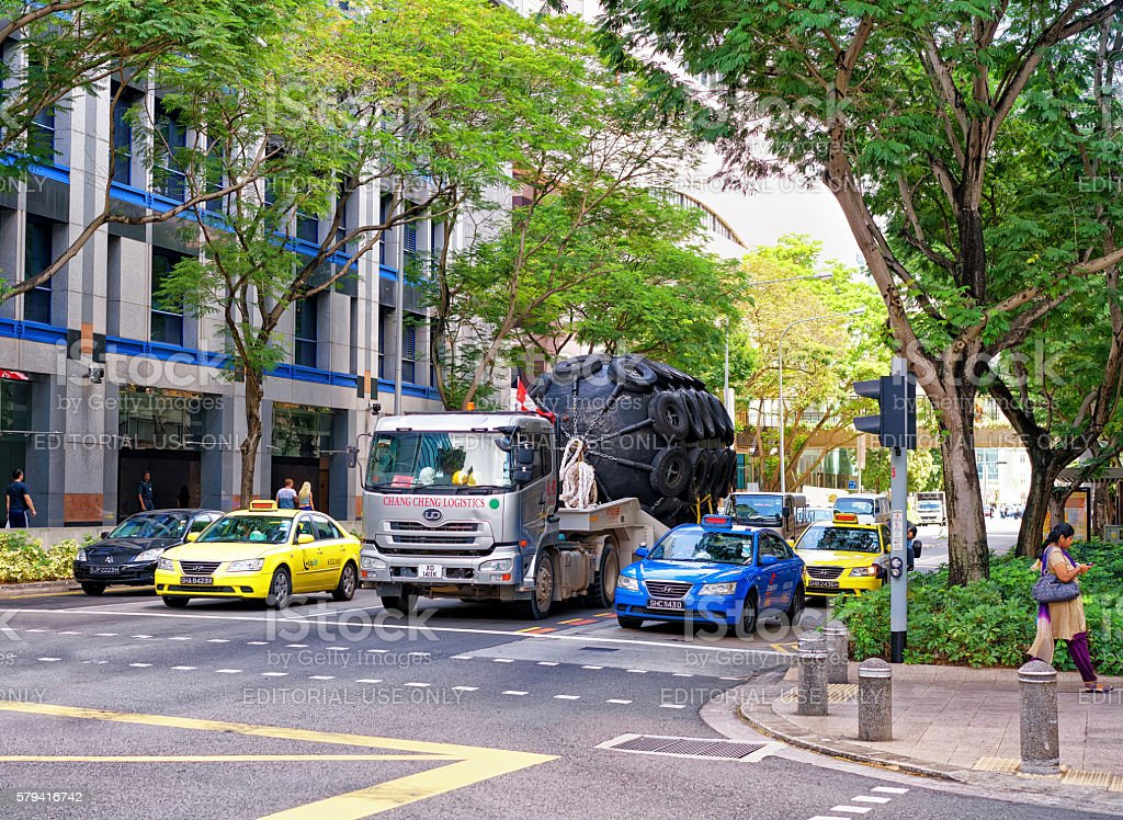 New Bridge street with car traffic in Singapore stock photo