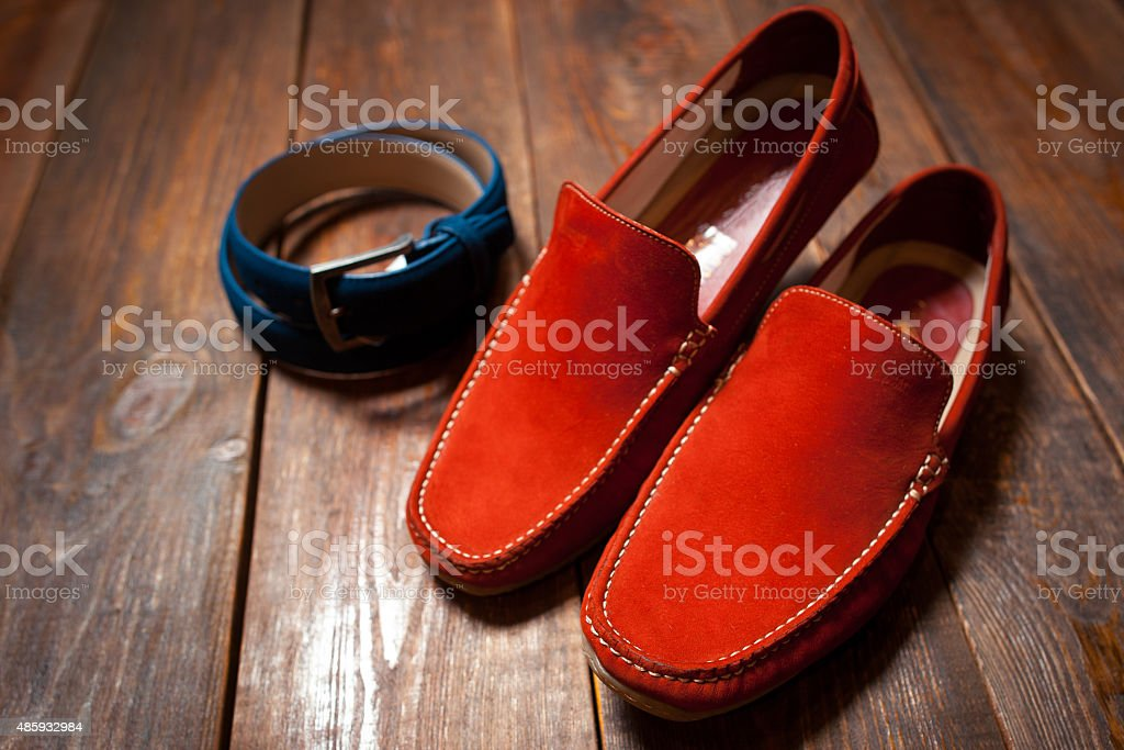 new bright footwear and a belt stock photo
