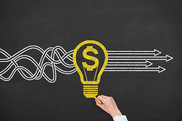 New Bright Idea Solution Finance Concept stock photo