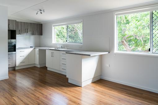 New bright white and gray kitchen