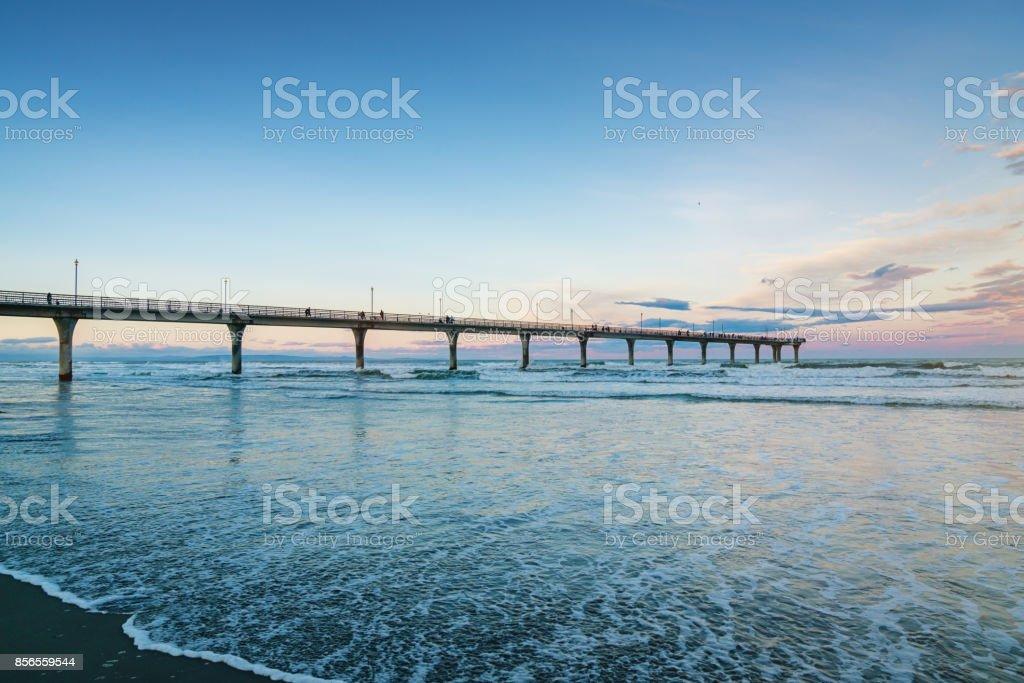 New Brighton Beach Pier Christchurch New Zealand stock photo
