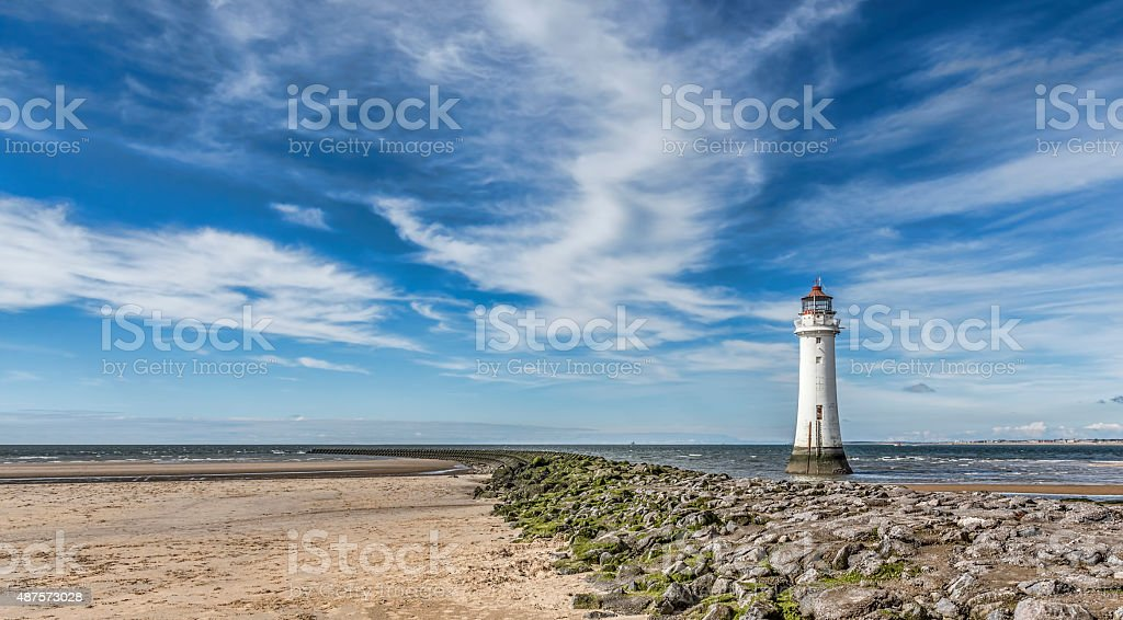 New Brighton Lighthouse on the wirral UK. stock photo