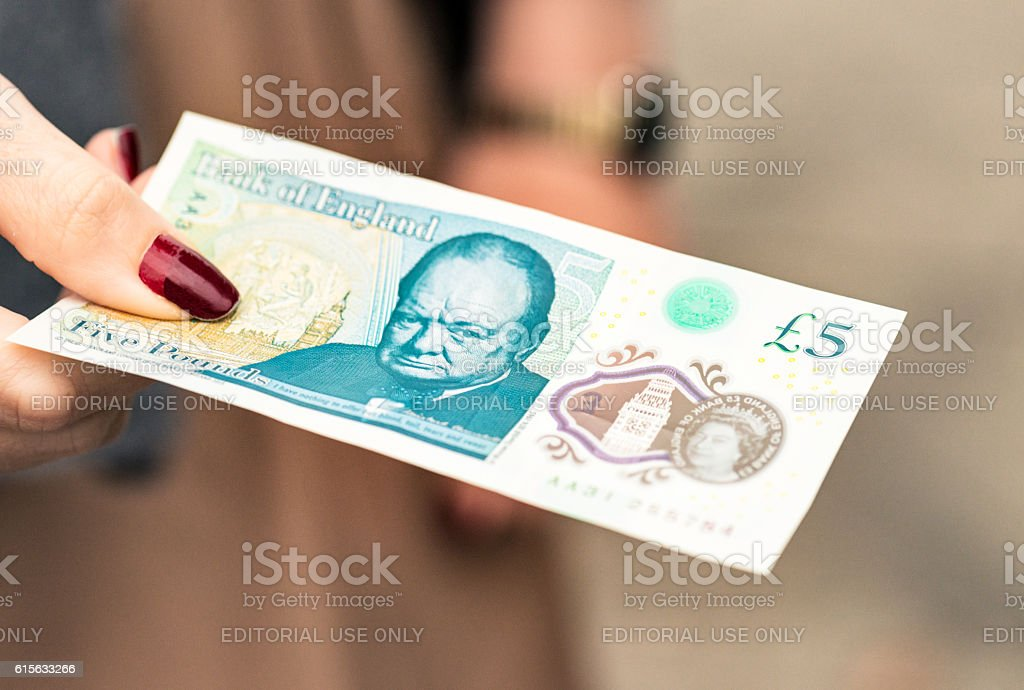 New British £5 polymer banknote stock photo