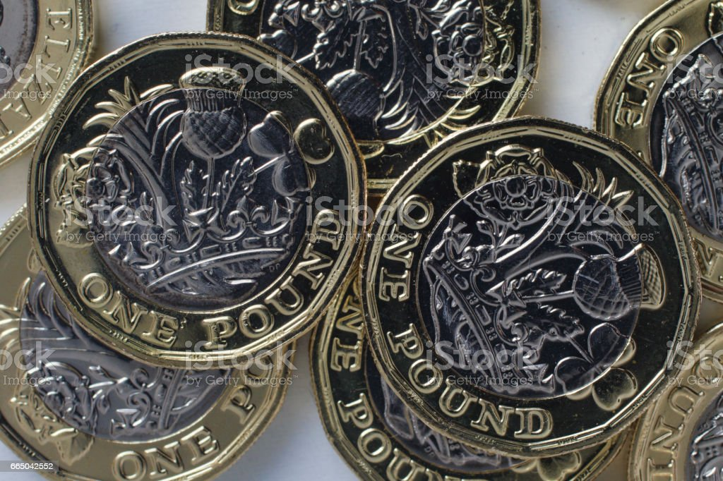 New British one pound coins 2017 stock photo