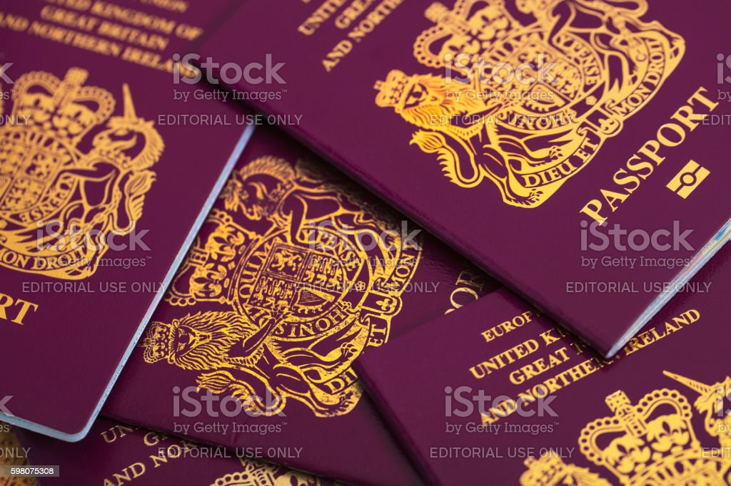New British Passport stock photo