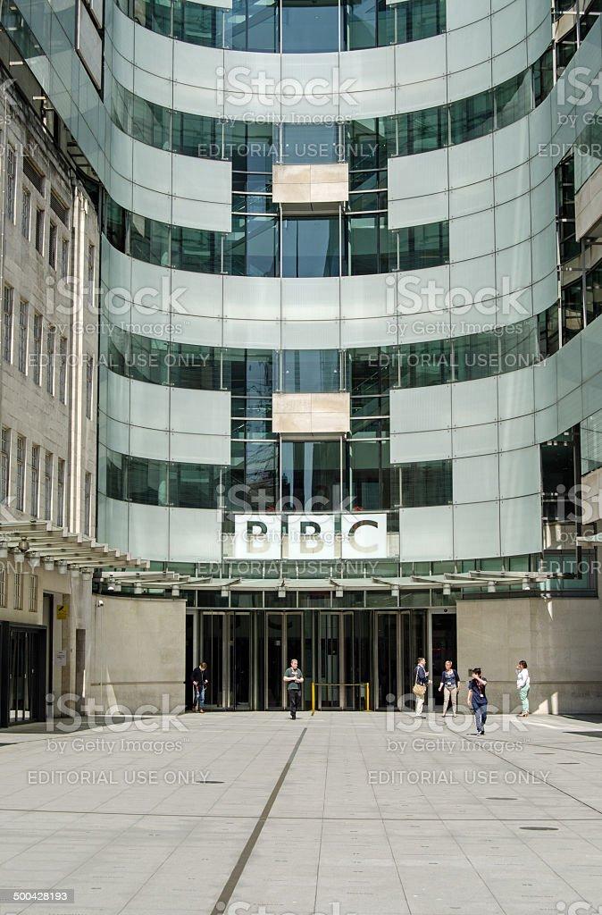 BBC New Broadcasting House entrance, London stock photo