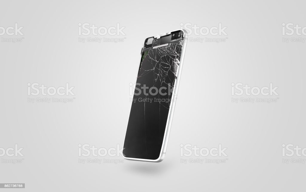 New broken mobile phone display mockup, side view stock photo