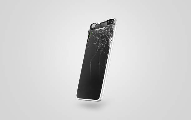 New broken mobile phone display mockup, side view stock photo