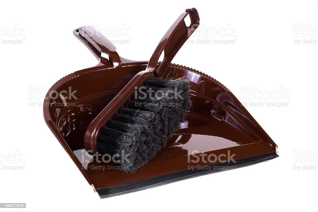 New broom and dustpan for cleaning on white background stock photo