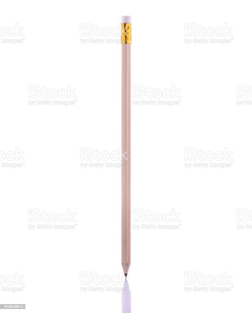 New brown pencil. Studio shot isolated on white stock photo