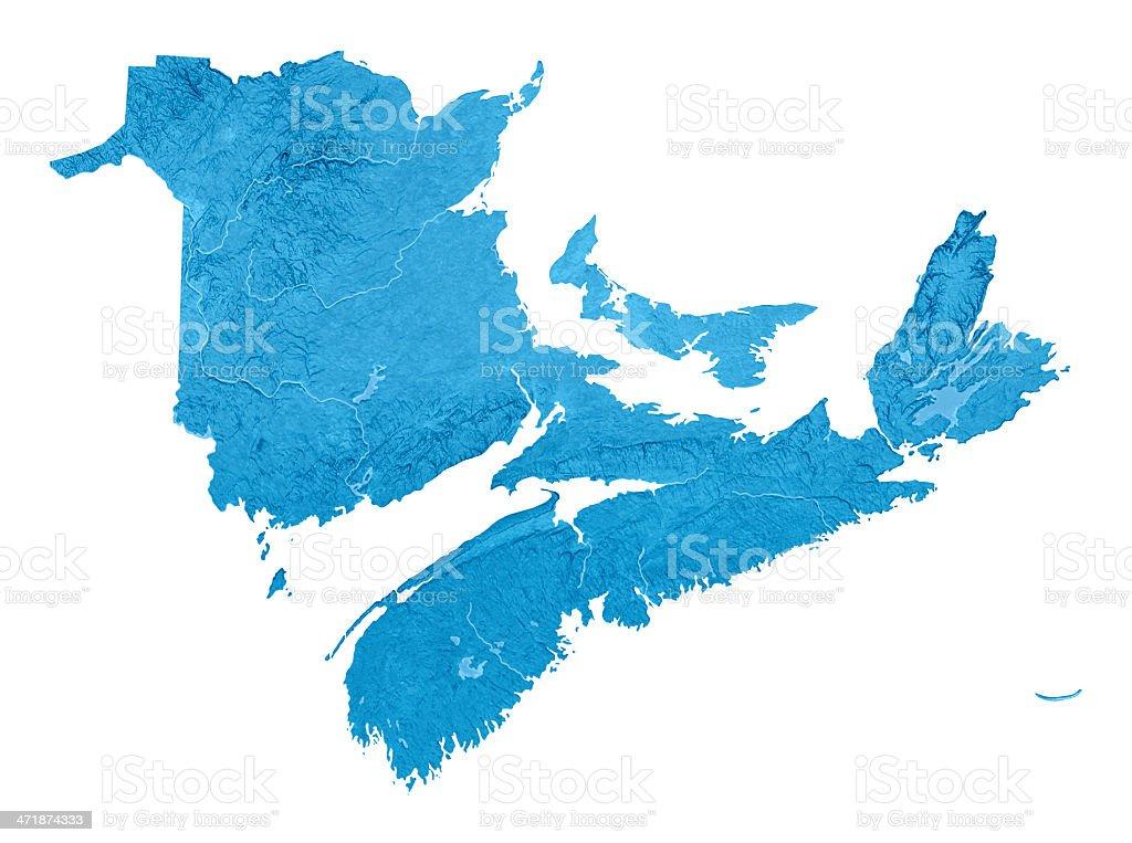 New Brunswick Nova Scotia Prince Edward Island Topographic Map Isolated royalty-free stock photo