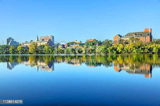 New Brunswick skyline along the banks of the Raritan River. New Brunswick is a city in Middlesex County, New Jersey, United States