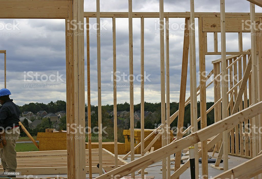 New Build 1 with Construction Worker royalty-free stock photo