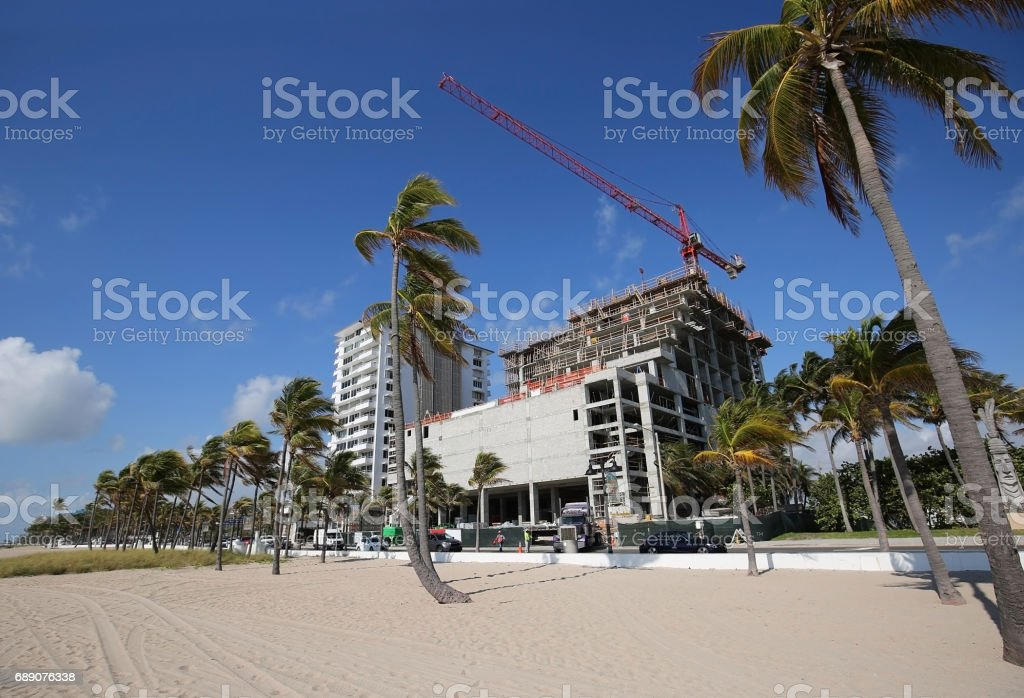 New building going up on Fort Lauderdale Beach stock photo