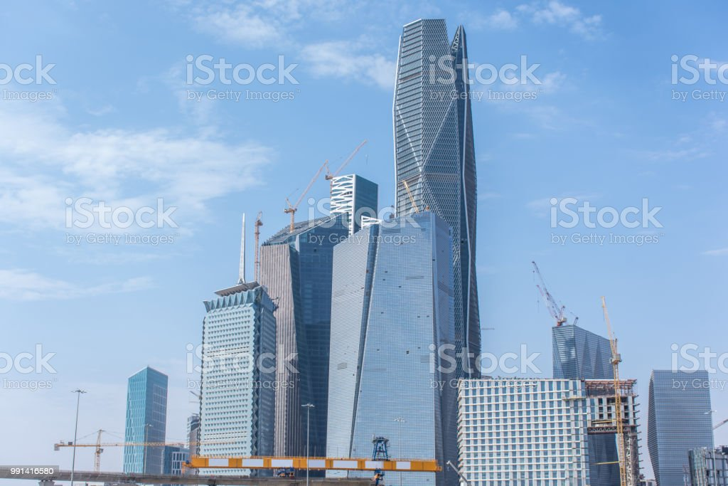 new buildings being constructed in the new King Abdullah Financial District in Riyadh stock photo