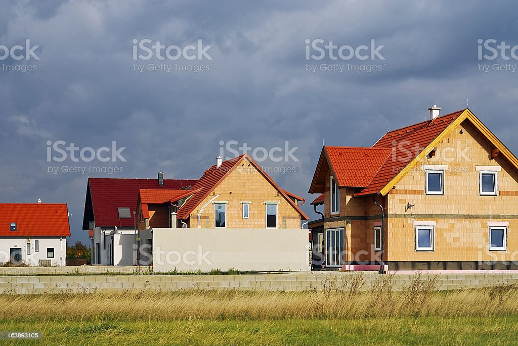 New built houses of the village stock photo