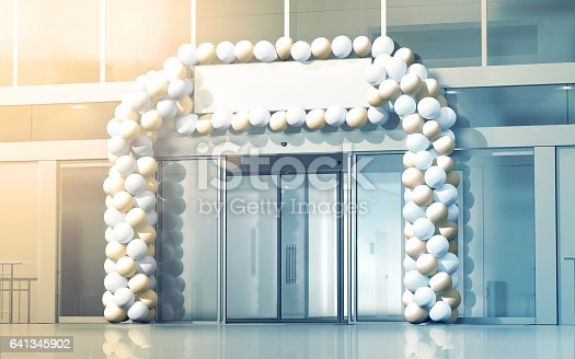 istock New business centre opening mockup, celebration at the entry 641345902