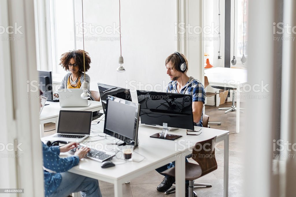 New Business People Working In Cool Office Space stock photo