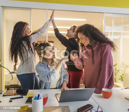 1050485096 istock photo New business startup: all women team work together in coworking office 1211004846
