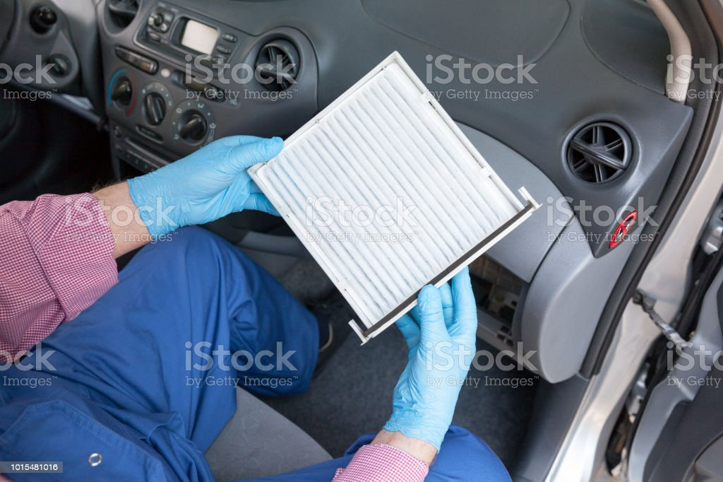 New cabin air filter for a car stock photo