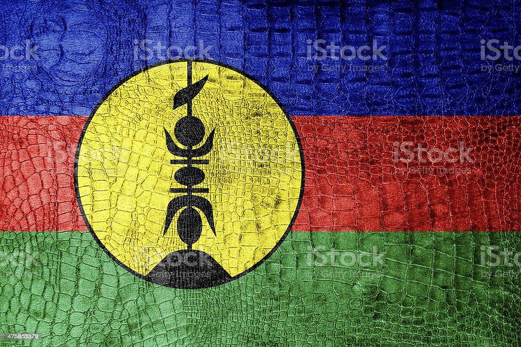 New Caledonia Flag painted on luxury crocodile texture stock photo