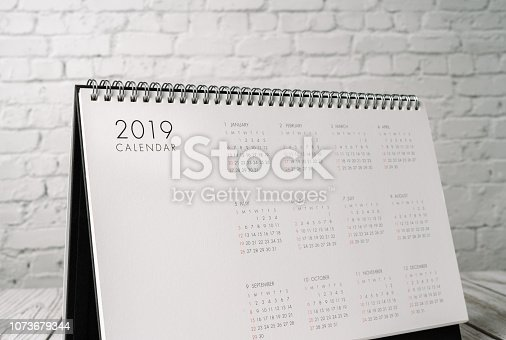 istock 2019 new calendar on office desk. 1073679344