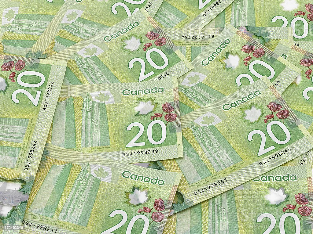 New Canadian currency stock photo