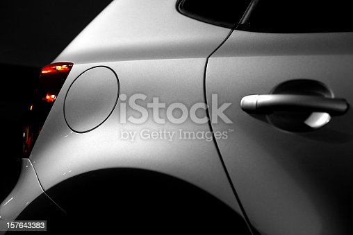 close up of a part from a new car at night - low key