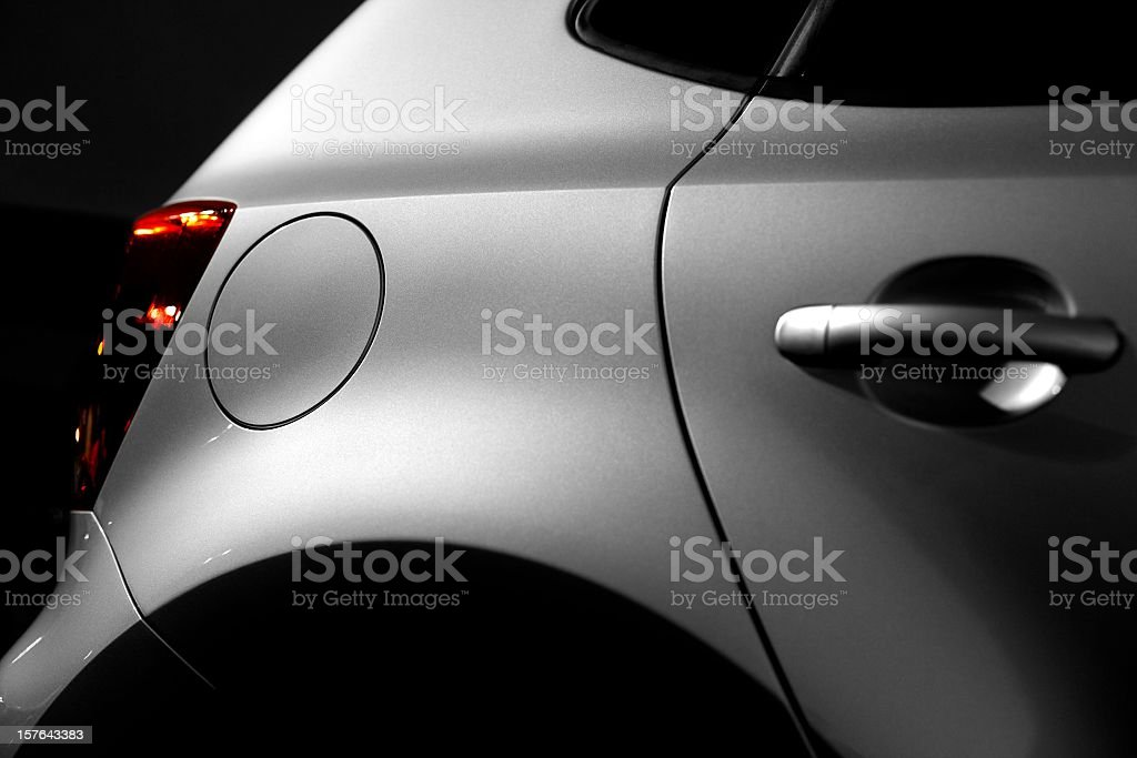 new car at night (under the lantern) stock photo