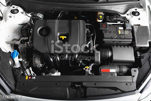 new car engine and parts, top view