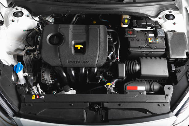 new car engine and parts new car engine and parts, top view vehicle hood stock pictures, royalty-free photos & images