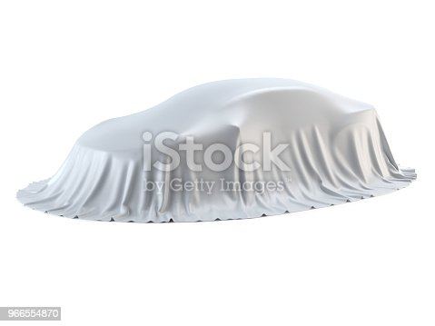 New car presentation, model reveal, hidden under white cover, isolated on white background, 3d rendering