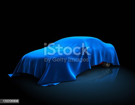 3D illustration of the car  covered fabric.