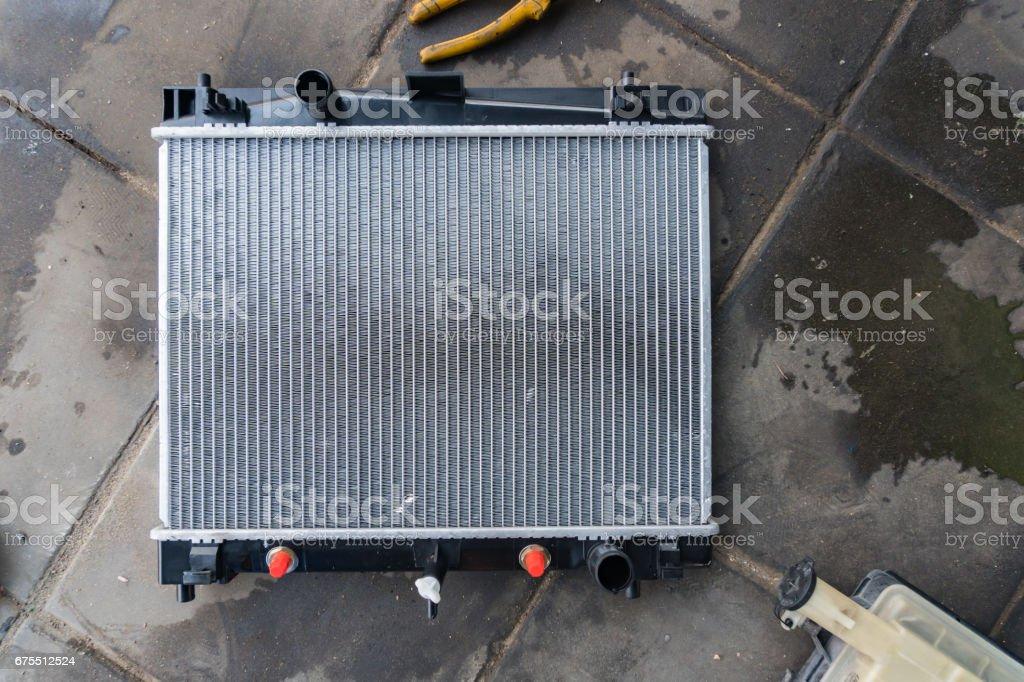 new car radiator ready to assemble stock photo