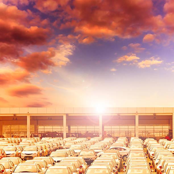 new car sales lot with sun - sale stok fotoğraflar ve resimler