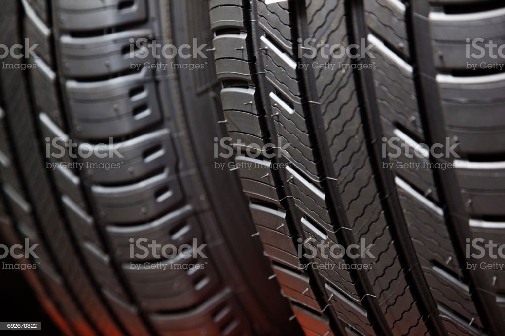 New Car Tires Closeup stock photo