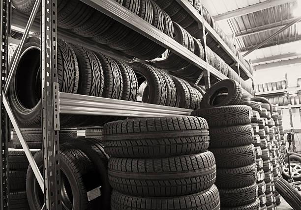 new car tyres stock photo