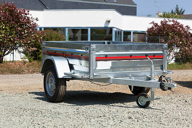 New cargo cart New cargo cart for sale outdoors. Horizontal shot vehicle trailer stock pictures, royalty-free photos & images